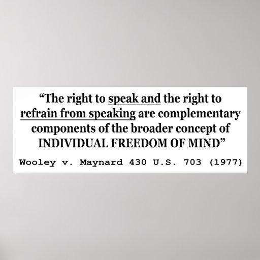 Freedom of Speech Wooley v Maynard 430 US 703 1977 Print