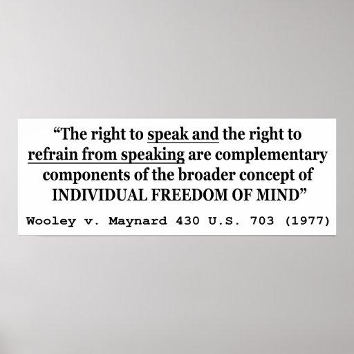 Freedom of Speech Wooley v Maynard 430 US 703 1977 Poster