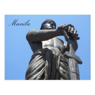 freedom statue manila postcard
