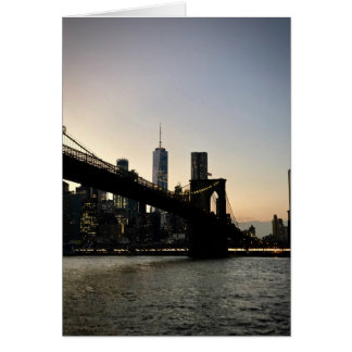 Freedom Tower and Brooklyn Bridge at Dusk Card