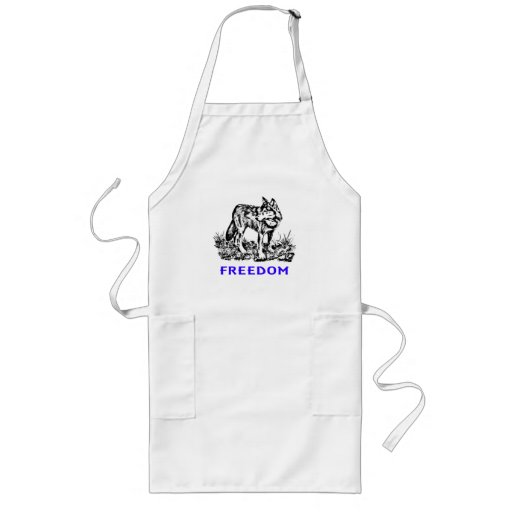 Freedom - wolf in wilderness apron