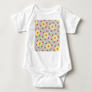 Freehand flowers and hearts baby bodysuit