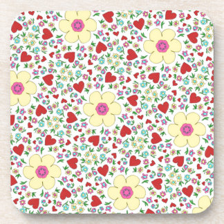 Freehand flowers and hearts coaster