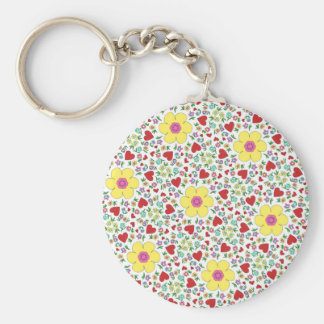 Freehand flowers and hearts key ring