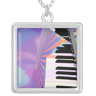 Freeing Keyboard Music Square Pendant Necklace