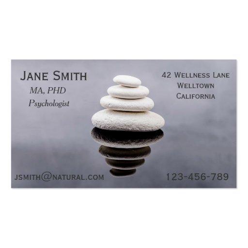 Freelance Psychologist Therapist Zen stones Business Cards