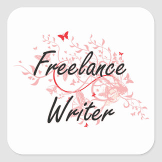Freelance Writer Artistic Job Design with Butterfl Square Sticker