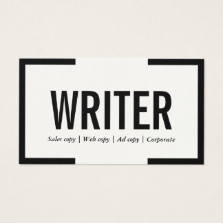Freelance Writer Bold Text Black Border Business Card