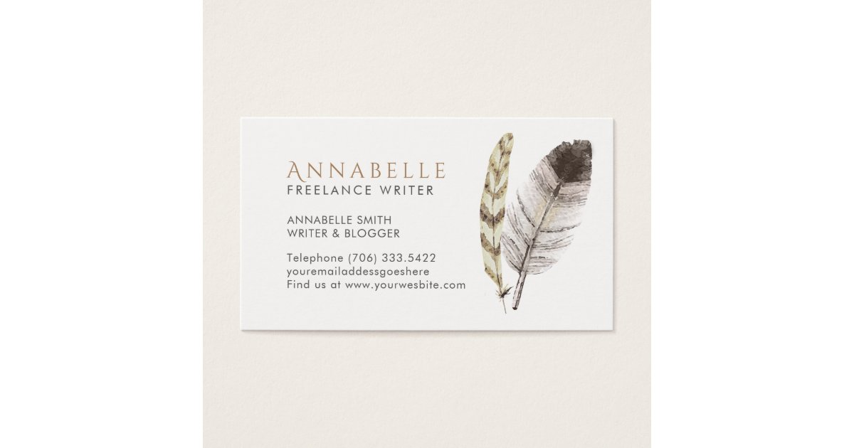 Freelance writer business cards with feathers zazzle for Freelance business cards