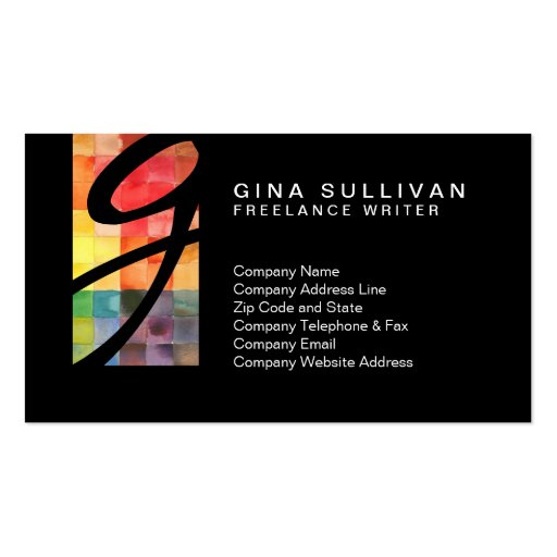 Freelance Writer ColorfulWatercolor Tiles Monogram Business Card Templates