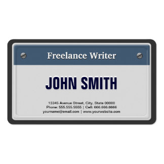 Freelance Writer - Cool Car License Plate Business Card Template