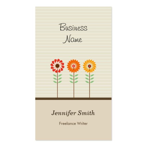 Freelance Writer - Cute Floral Theme Business Card Template
