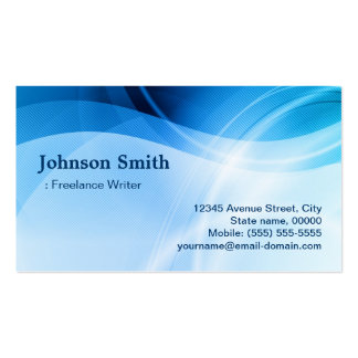 Freelance Writer - Modern Blue Creative Double-Sided Standard Business Cards (Pack Of 100)