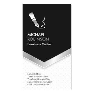 Freelance Writer - Modern Elegant Black Silver Pack Of Standard Business Cards