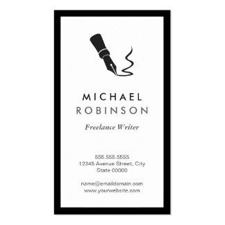Freelance Writer Pen Logo - Retro Black and White Pack Of Standard Business Cards