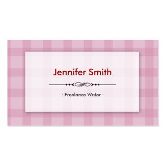 Freelance Writer - Pretty Pink Squares Business Cards