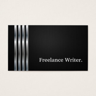Freelance Writer Professional Black Silver Business Card