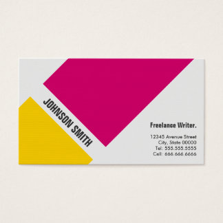 Freelance Writer - Simple Pink Yellow Business Card