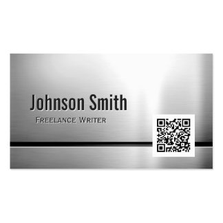 Freelance Writer - Stainless Steel QR Code Pack Of Standard Business Cards