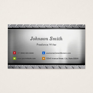 Freelance Writer - Stylish Platinum Look Business Card