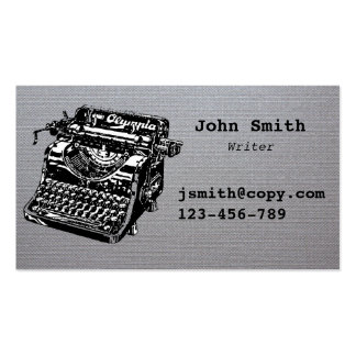 Freelance writer typewriter design stylish business card