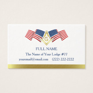 Freemason Business Card Template, American Flag