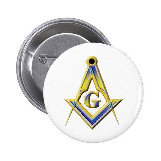 Freemason Square & Compasses 6 Cm Round Badge