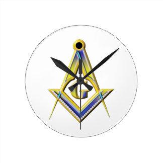 Freemason Square & Compasses Round Clock
