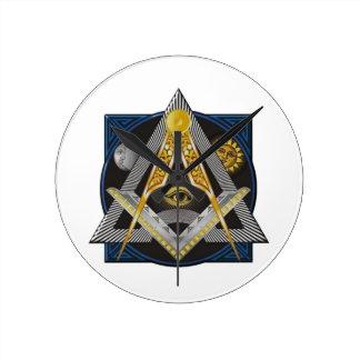 Freemasonry Emblem Round Clock