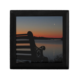 Freeport Maine Moon at Sunrise Small Square Gift Box