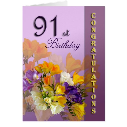 Freesias 91st Birthday Congratulations Card