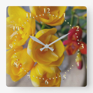 freesias bouquet square wall clock