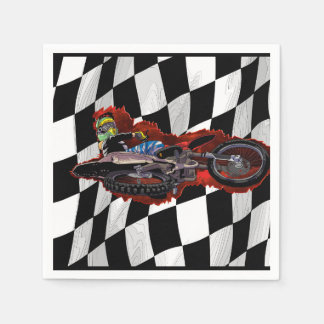 Freestyle motocross rider flying high disposable napkin