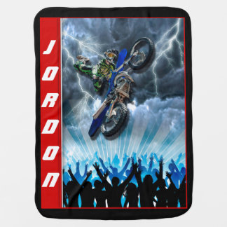 Freestyle Motocross rider flying over the crowd Baby Blanket