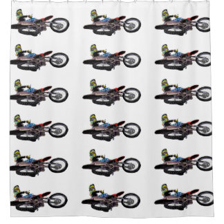 Freestyle motocross rider shower curtain