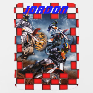 Freestyle motocross with checkered flags baby blanket