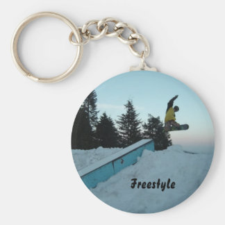 Freestyle Snow Boarder Basic Round Button Key Ring