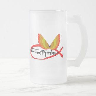 Freethinking Fish Symbol Frosted Glass Beer Mug