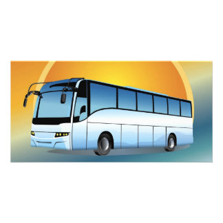 FreeVector-Bus Transportation travel touring Photo Card Template