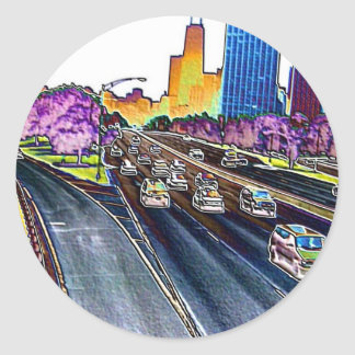 Freeway Driving in Colored Foil Round Sticker