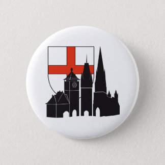 Freiburg silhouette with coats of arms 6 cm round badge