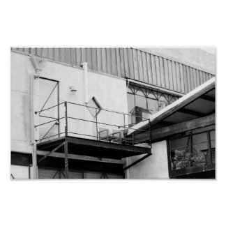 Fremantle Industrial Conversion Black and White Poster