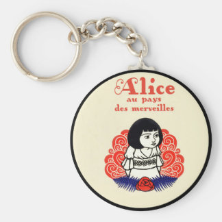 French Alice Book Cover Basic Round Button Key Ring