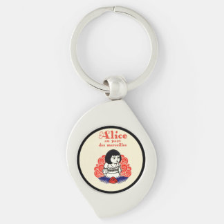 French Alice Book Cover Silver-Colored Swirl Key Ring