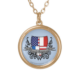 French-American Shield Flag Round Pendant Necklace