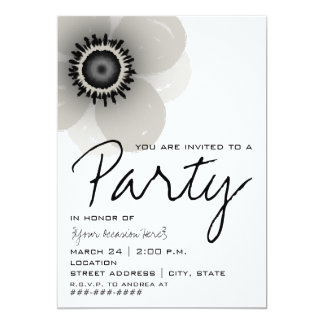 French Anemone Flower Party Invitation