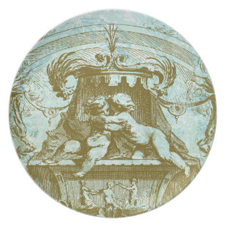 French Architecture & Cherubs Plate