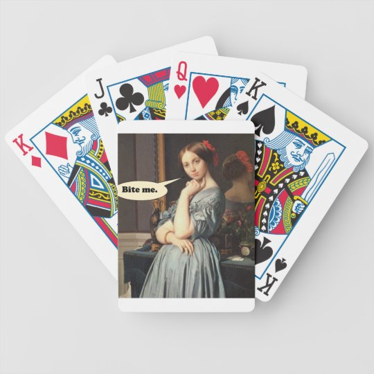 French Aristocrat Says: Bite Me Bicycle Playing Cards