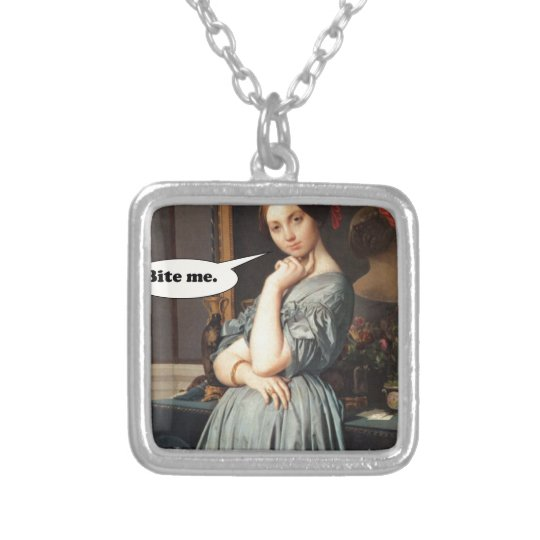 French Aristocrat Says: Bite Me Silver Plated Necklace