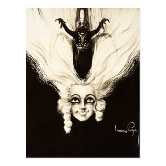 French Aristocrat Wig Hair Vintage Marionette Postcard